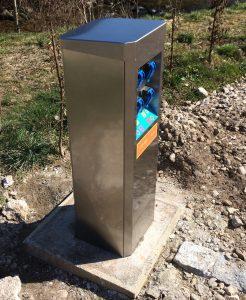 Installation M-Innov d'une borne électricité sur le camping de Plainfaing